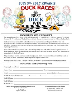 Duck Race Sponsor Forms